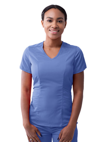 Womens Modern V-Neck Scrub Top - Bella Grace Health Scrubs