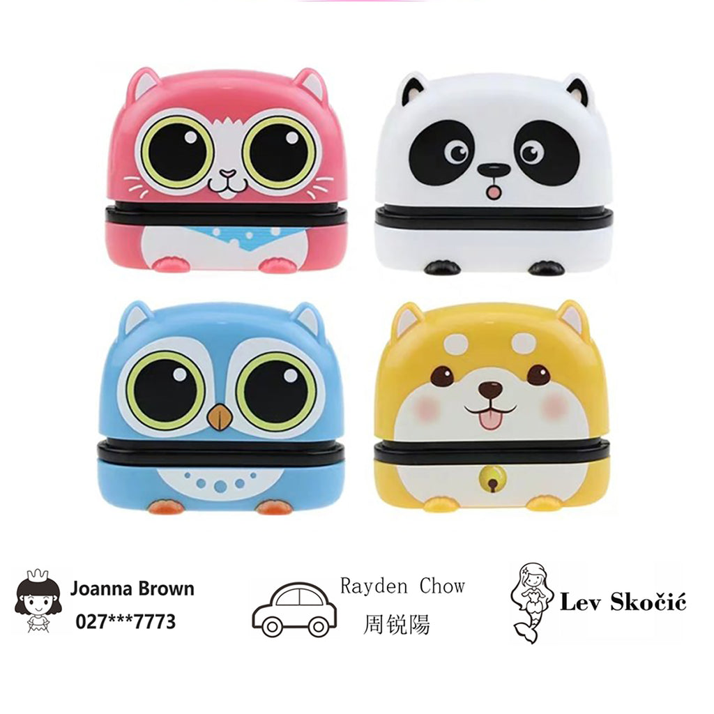 Miya Customized Name Cartoons Stamp for Kids Clothes 4 Style And Suitable for Books School(Ink can be used more than 1000 times)