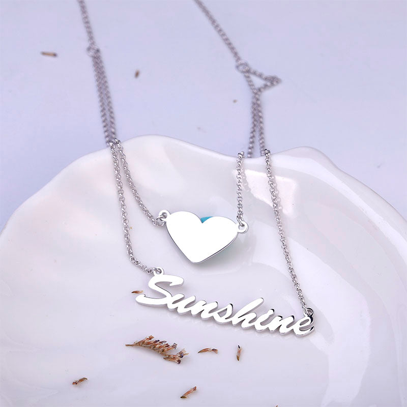 Miya custom made Double Layer Name Personalized Sterling Silver Necklace