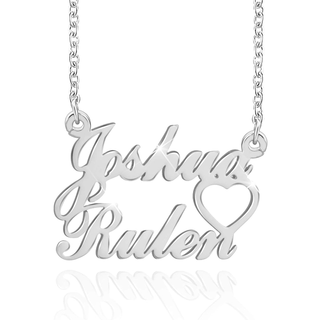 Miya custom made Heart Name Necklace Pendant With Two Name