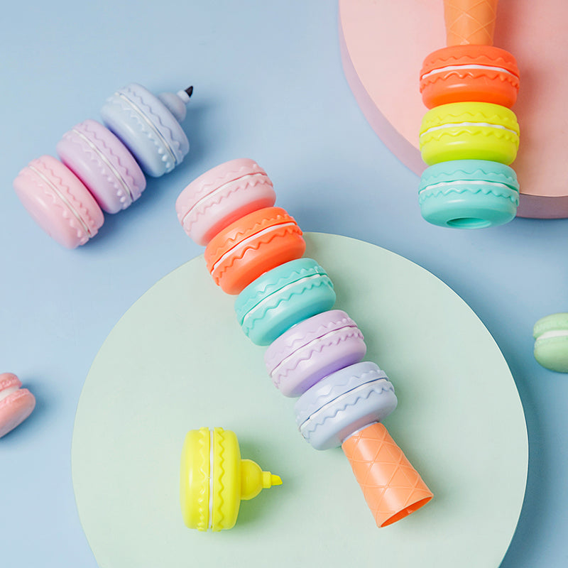 6Pcs/Set Macaron Cookie Highlighter Pen