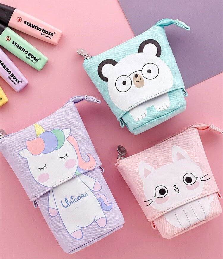 50% OFF Mother's Day Promotion ,Cartoon Cute Cat Pencil Pouch Canvas Pen Bag Standing Stationery Case Holder Box for Student/Cosmetic bag