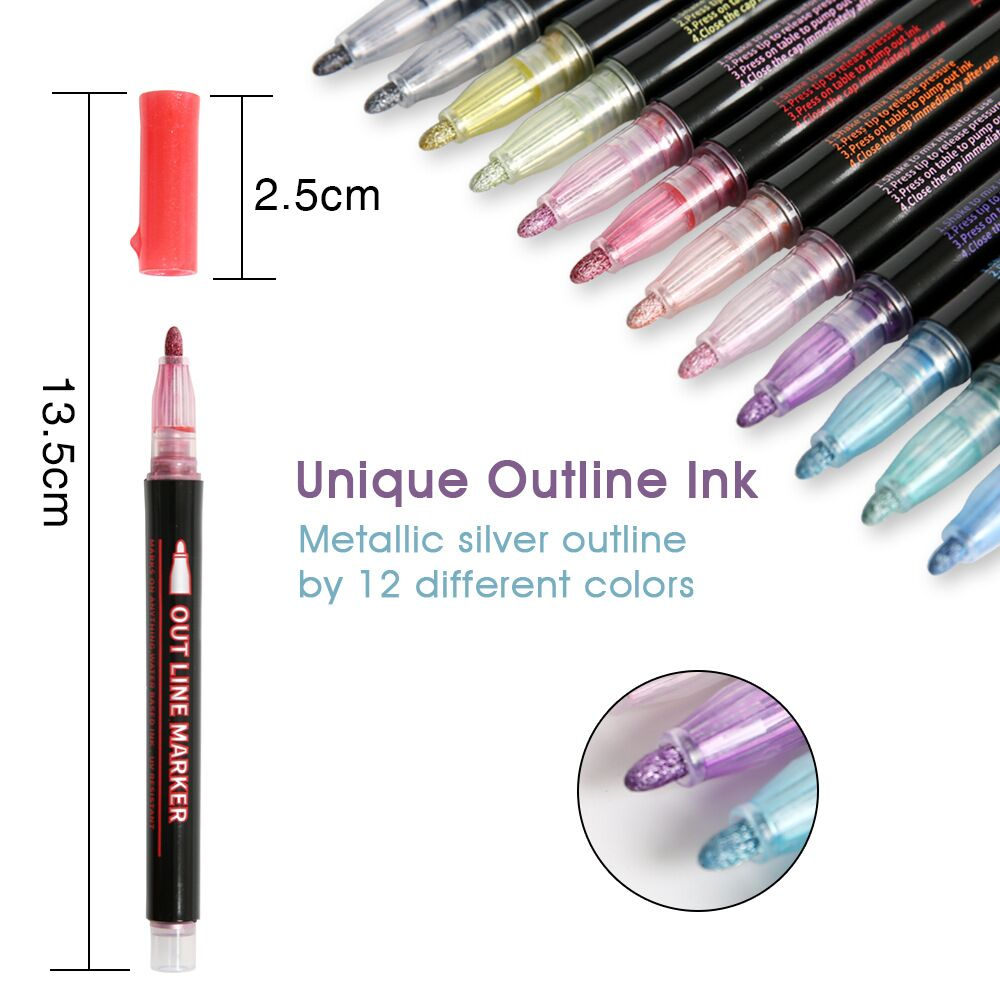 12 Colors Self Outline Metallic Markers Double Line Pen