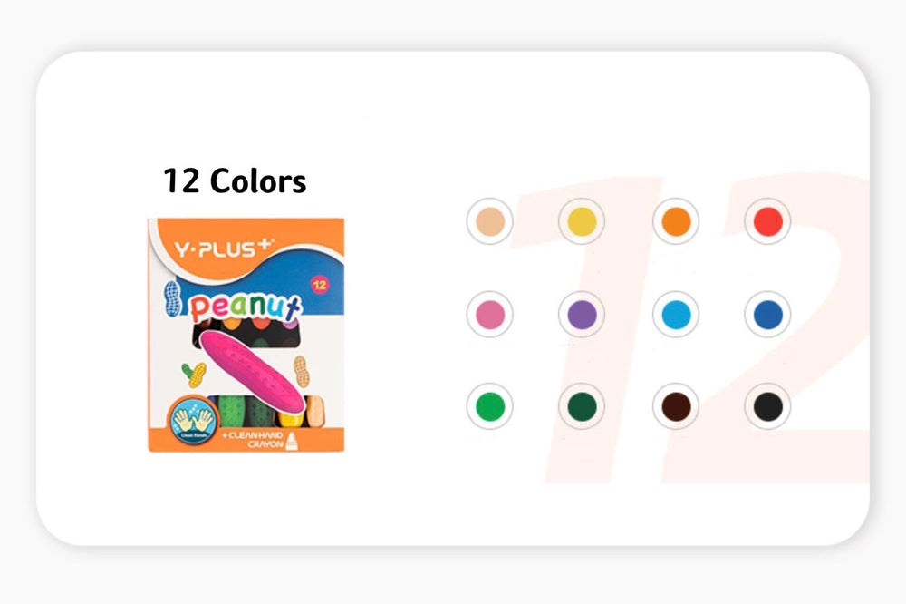 12/24/36 Colors Kids Baby Peanut Crayons Sticks,Non-Toxic Safe Washable 3D Palm Grip Finger Painting Wax Crayons Set