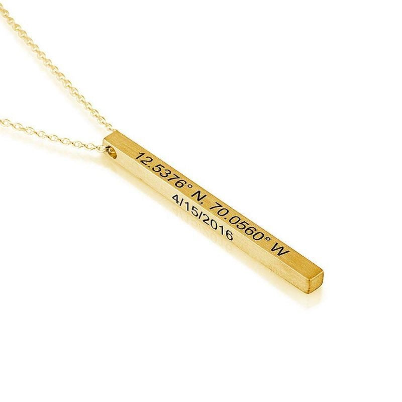 Miya custom made Personalized Vertical Bar Sterling Silver Necklace