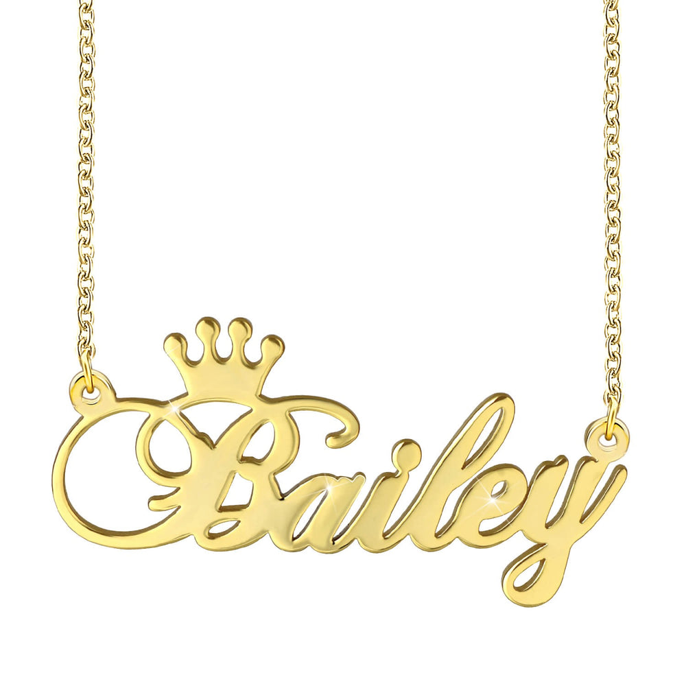 Miya custom made Crown Engraved Name Necklace Personalized