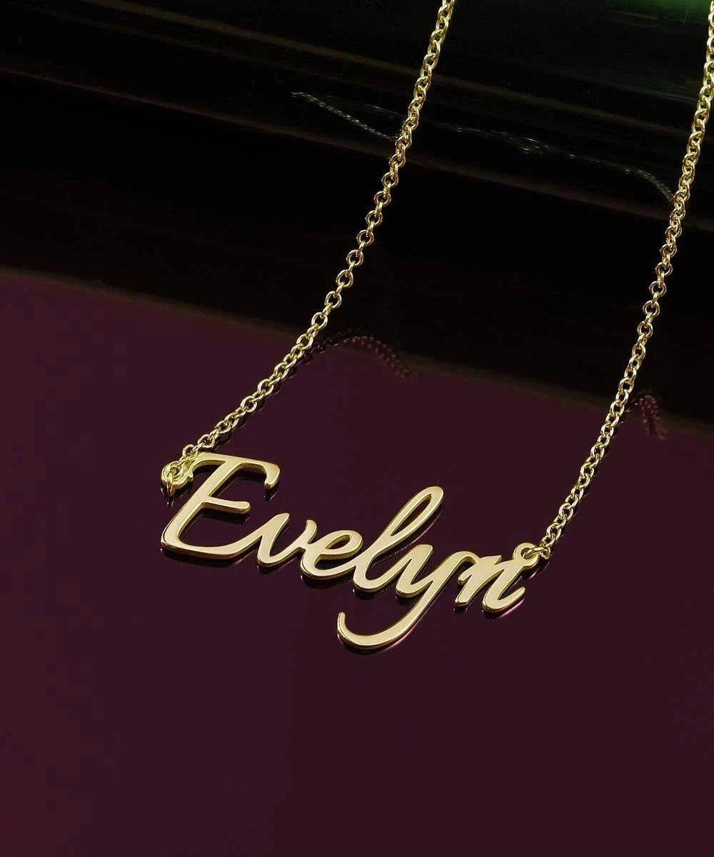 Miya custom made 925 Sterling Silver Classic Engraved Name Necklace with Adjustable Chain