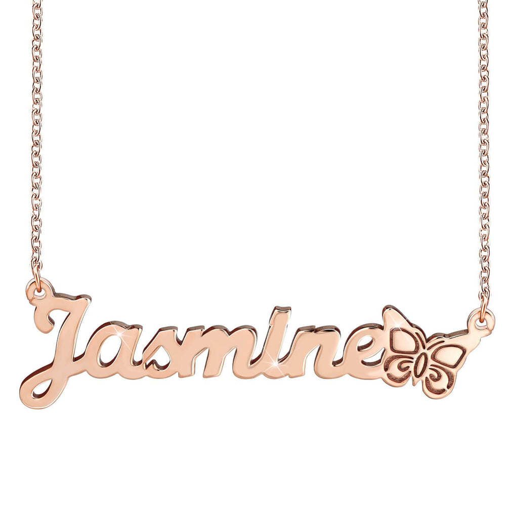 18k Gold Plated Name Necklace Butterfly With Name Pendant - Silviax