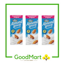Load image into Gallery viewer, Blue Diamond Almond Breeze Almond Milk Unsweetened Original 180MLx3