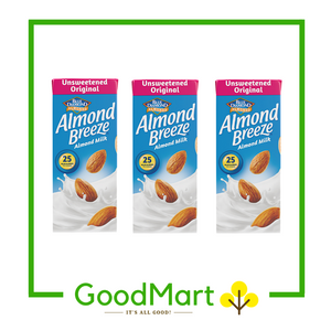 Blue Diamond Almond Breeze Almond Milk Unsweetened Original 180MLx3