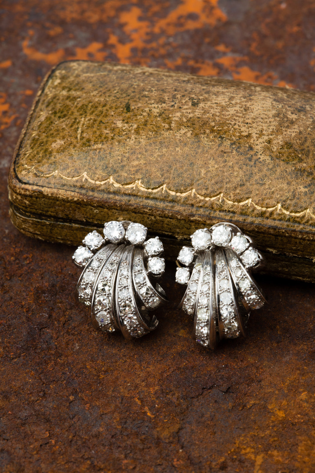 Vintage Diamond Earrings 18k white gold