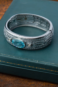 Topaz Filigree Rhodium Bangle