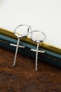 14kt White Gold Diamond Cross Earrings