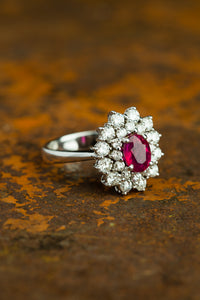 White Gold Ballerina Ring with Pink Center