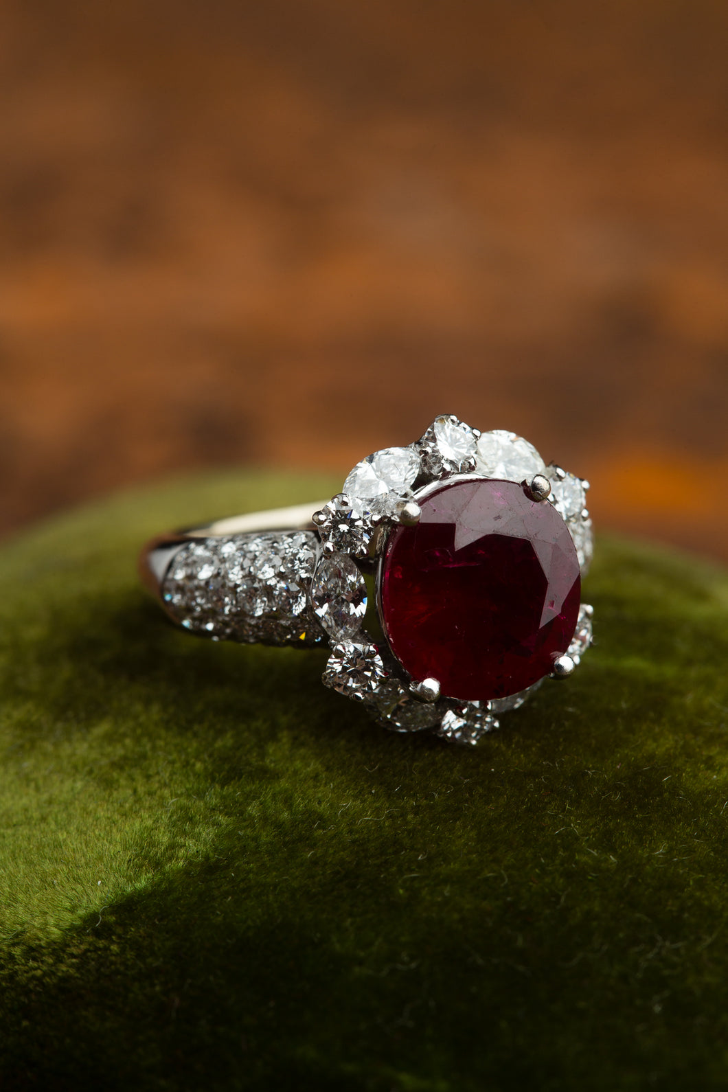 3.85ct  Mozambique Ruby & Diamond Ring