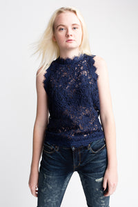 Willow & Clay Lace Blue Tank
