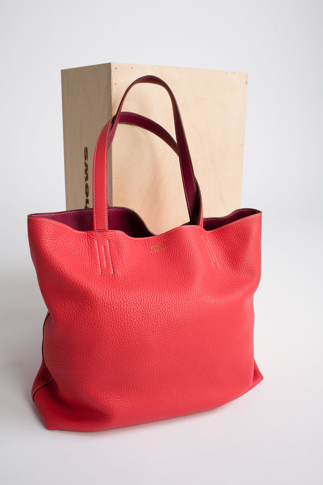 Hermes Double Sens Rose and Cigare Sikkim Leather tote