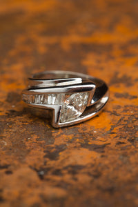 White Gold Marquise Baguette Diamond Ring