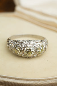 Platinum Ring 3 Yellow Diamonds Filigree