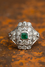 Load image into Gallery viewer, Platinum Square Multi Diamond Emerald Ring