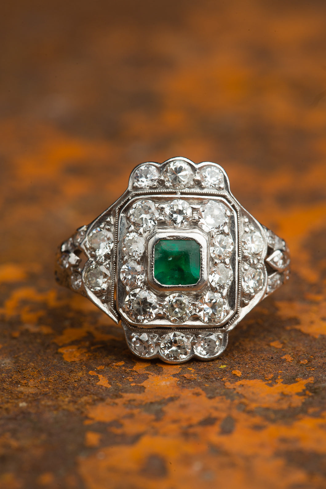 Platinum Square Multi Diamond Emerald Ring
