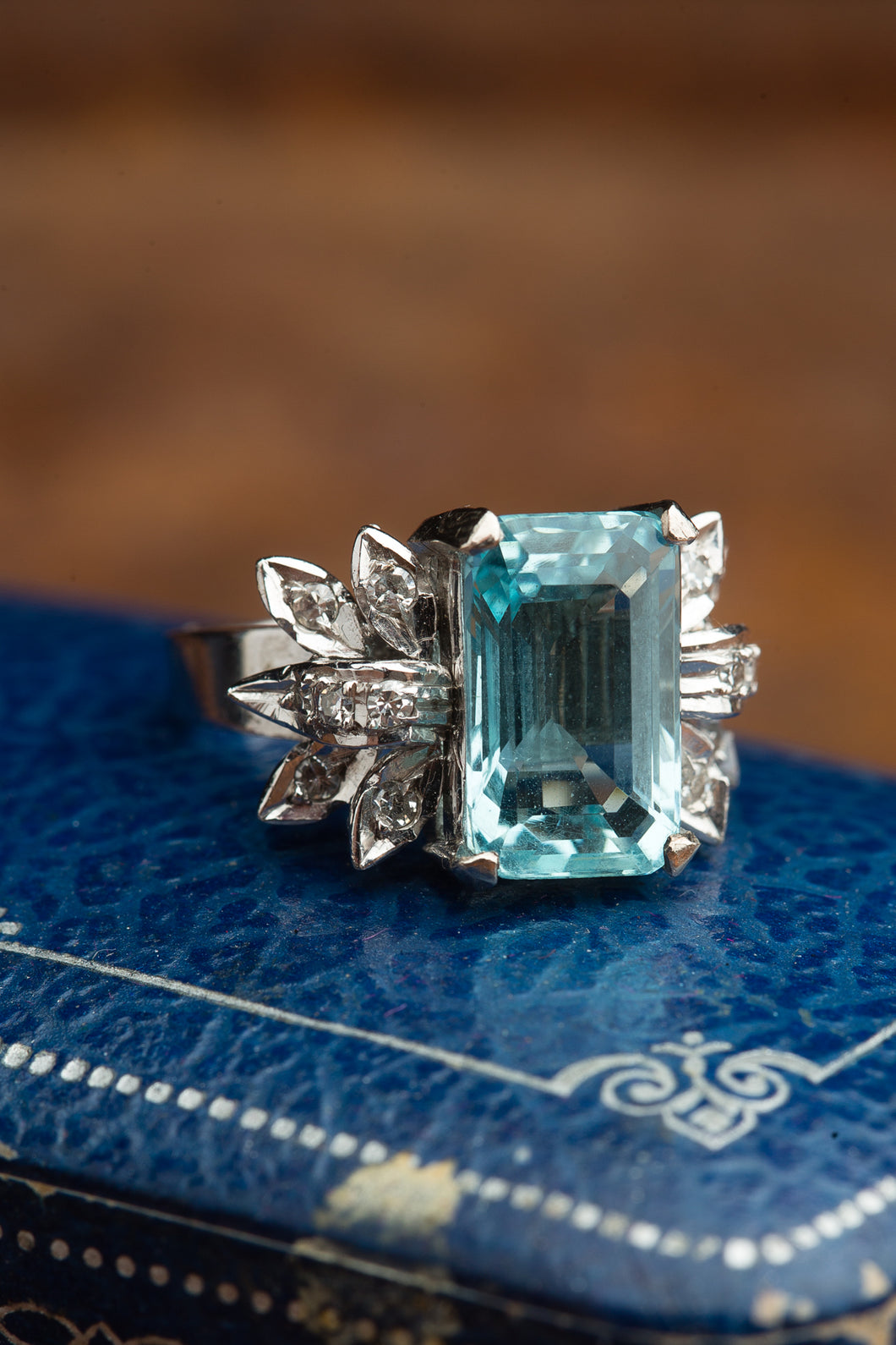 Aqua Emerald Cut Ring