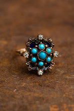 Load image into Gallery viewer, Yellow Gold Turquoise Cluster Ring