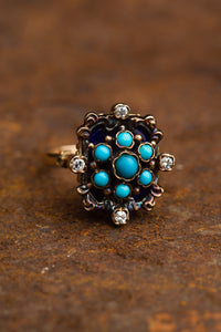 Yellow Gold Turquoise Cluster Ring