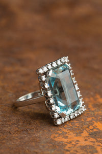 Large Aqua Diamond Halo Ring