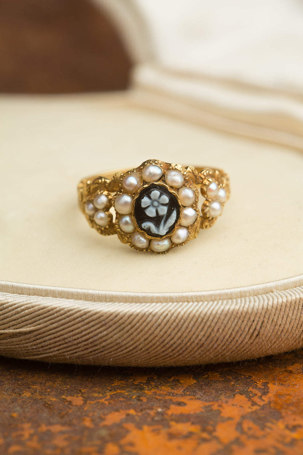 Yellow Gold Tiny Pearl Flower Ring