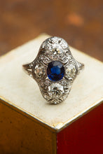 Load image into Gallery viewer, White Gold Four Large Diamond Center Sapphire Ring