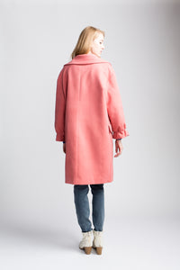 Yumi Bubble Gum Ruffle Cuff Coat