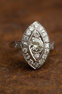 14kt J SI European Cut Diamond Ring
