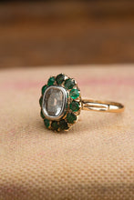 Load image into Gallery viewer, 14kt Diamond Doublet With Emerald Halo