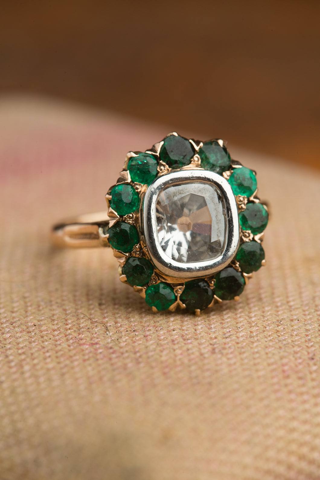 14kt Diamond Doublet With Emerald Halo