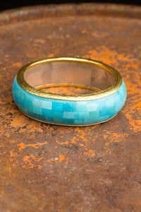 24kt Yellow Gold Turquoise Bangle