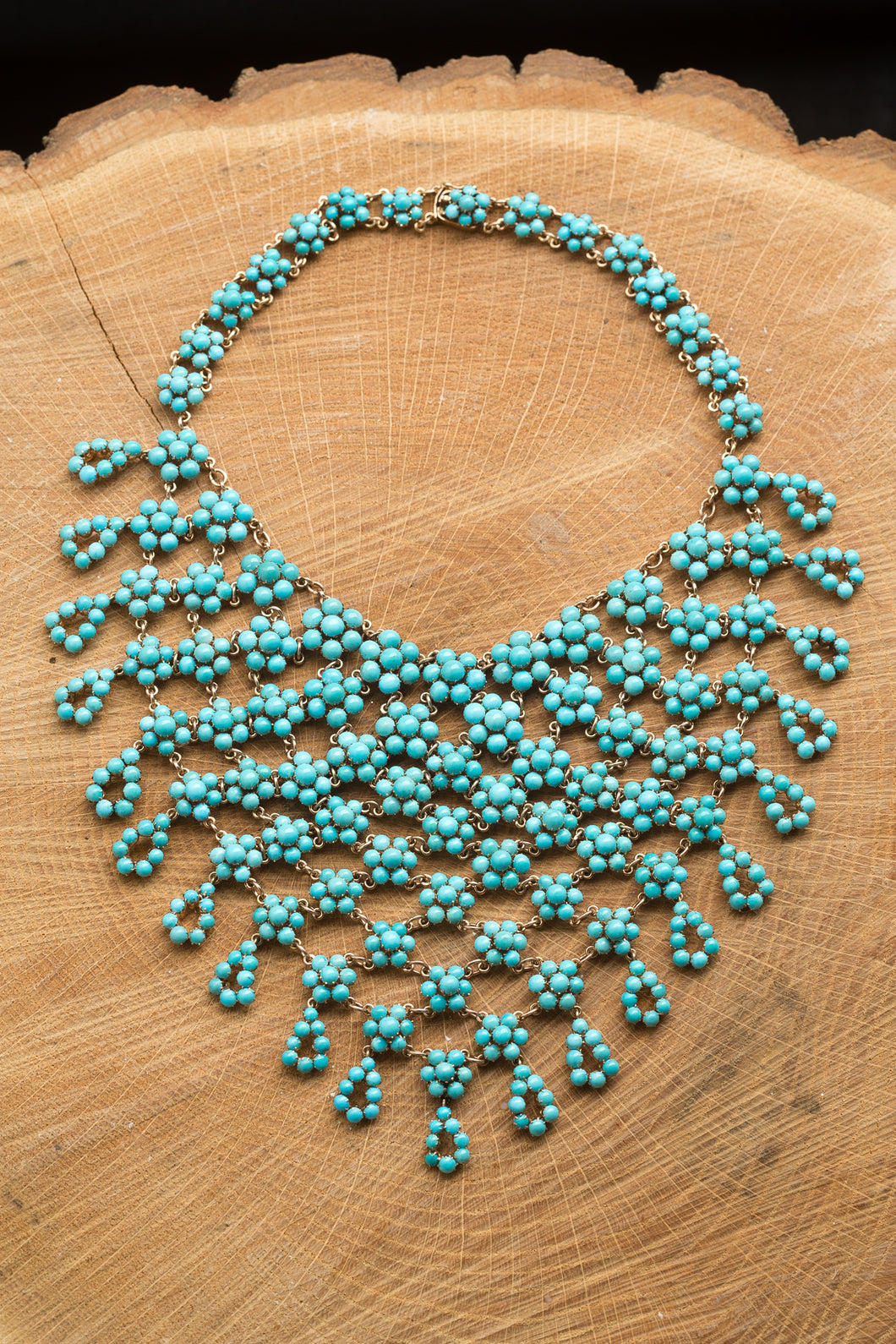 14kt Yellow Gold Turquoise Flower Bib Necklace
