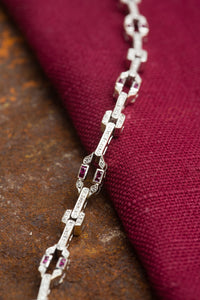 18kt White Gold Diamond & Ruby Bracelet