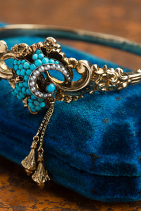 Victorian 14kt Turquoise & Pearl Bracelet