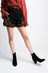 Willow & Clay Black Embroidered Shorts