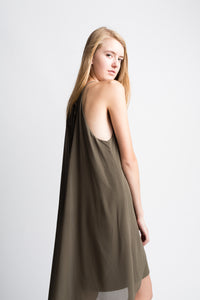 Matty M Olive Tie Neck Dress
