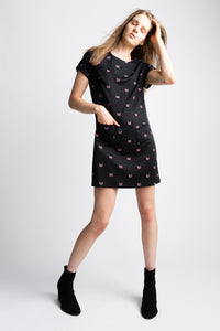 Yumi Black Purple Kitty Shift Dress