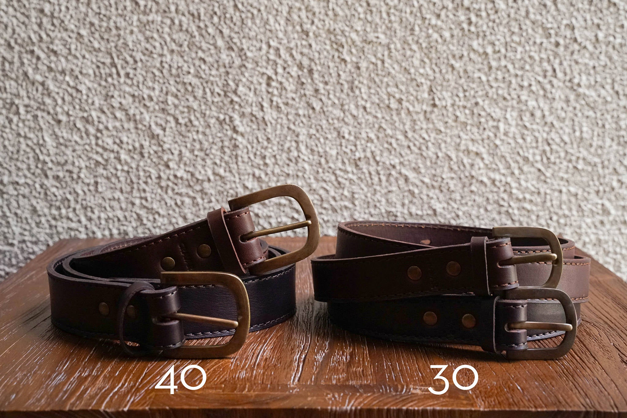 Comparison between 40 & 30mm belts.