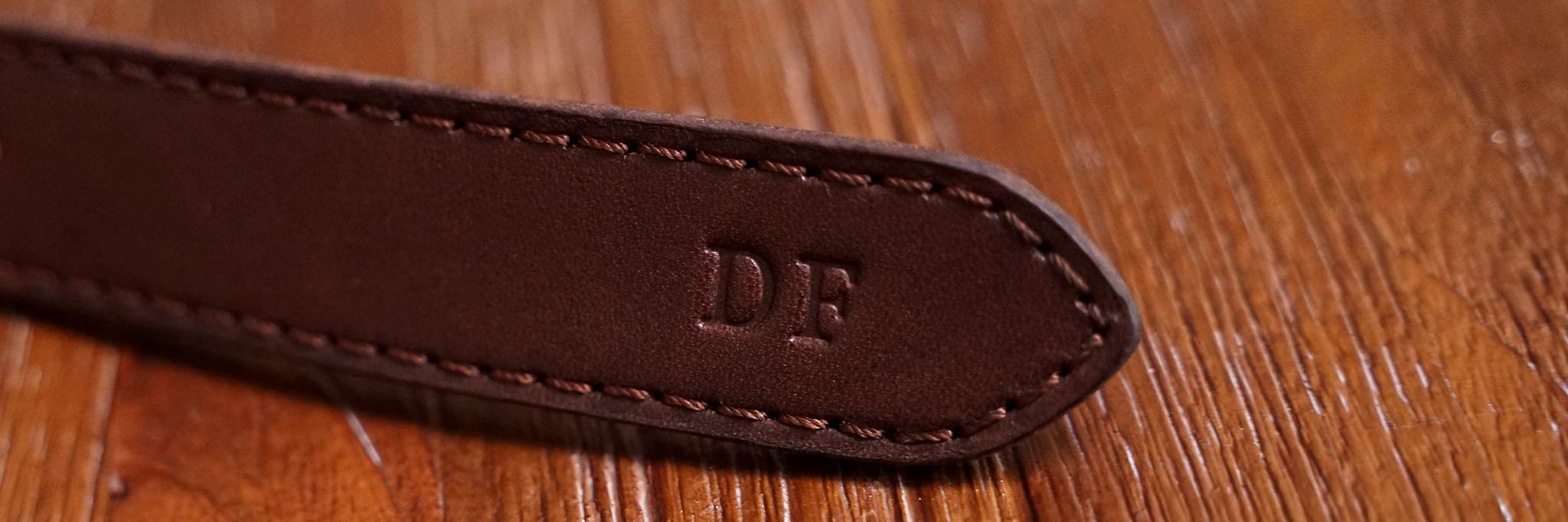Initials example, shown here on a Fox colored belt with Satyr/Serif font.