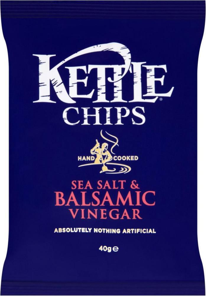 Kettle Chips Sea Salt and Balsamic Vinegar 40g Bags pack of 18