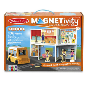 Melissa & Doug Magnetivity Magnetic Tiles Building Playset – School with School Bus Vehicle (106 Pieces, STEM Toy) by Melissa & Doug