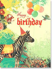 Load image into Gallery viewer, You wild and wonderful thing, you! Zebra wearing party hat with balloons