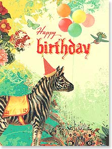 You wild and wonderful thing, you! Zebra wearing party hat with balloons