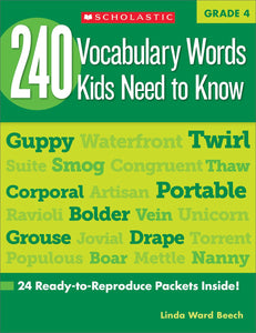 240 Vocabulary Words Kids Need to Know, Grade 4 by Linda Beech