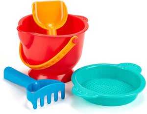Hape Beach Basics Sand Toy Set Including Bucket Sifter, Rake, and Shovel Toys, Multicolor by Hape
